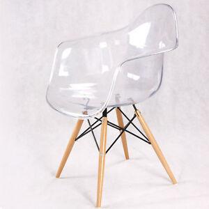 Poltrona pranzo soggiorno studio trasparente design gambe legno bauhaus acrilico