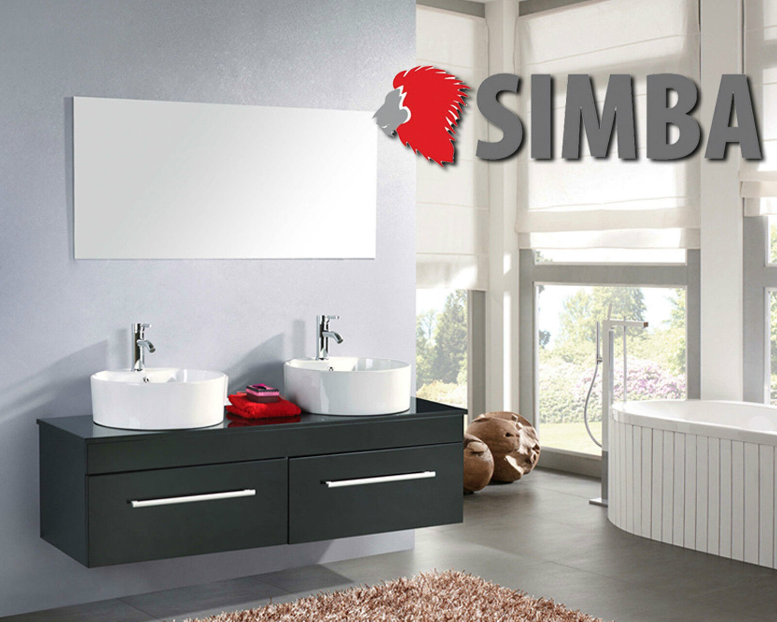 Meuble de salle de bain 150 cm double lavabo, salle de bains meubles, miroir, Robinets incl, CARDEL