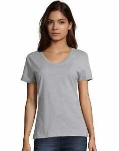 Hanes S04V Cotton Womens Short Sleeve Nano Cotton V-Neck Tee
