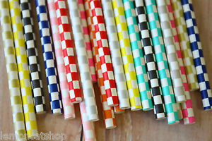 Checkers Paper Straws 25pcs colorful wedding birthday baby shower party supplies - Callington, United Kingdom - Checkers Paper Straws 25pcs colorful wedding birthday baby shower party supplies - Callington, United Kingdom