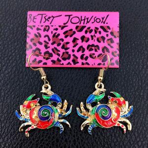 Women-039-s-Colorful-Enamel-Lovely-Crab-Eardrop-Betsey-Johnson-Dangle-Earrings-Gift