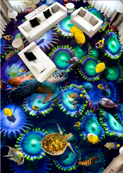 3D Turtle Jellyfish 123 Floor Wall Paper Wall Print Decal Wall Deco AJ WALLPAPER
