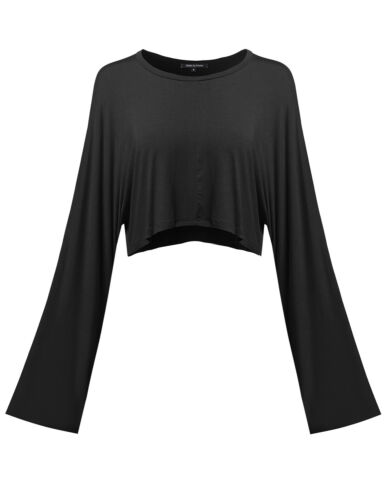 FashionOutfit Women/'s Trendy Solid Soft Modal Fabric Kimono Long Sleeve Crop Top