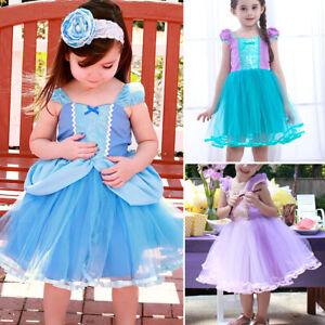 Girls-Princess-Cinderella-Ariel-Cosplay-Costume-Tutu-Dress-Kids-Halloween-Dress