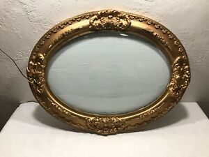 Large-25-X-19-Antique-Gold-Oval-Picture-Frame-Ornate-Wood-Vintage-Bubble-Glass