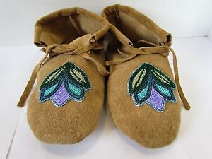 Native American Authentic Moccasins Beige Deerskin Leather Size 11 Unisex