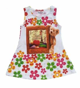 Baby-Girls-Kids-Size-000-3-Casual-Frock-Dress-Floral-Teddy-Print-Summer