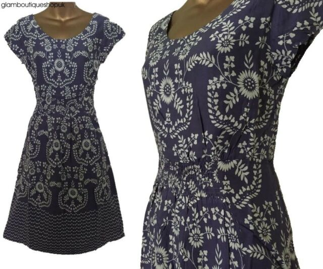 New White Stuff Pink Mix Geometric Floral Print Casual Tea Dress Sizes 8-18