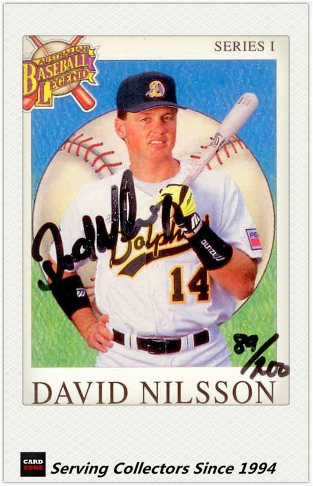 1993 Futera Australia Baseball LE Authentic Signature Card David Nilsson-No89