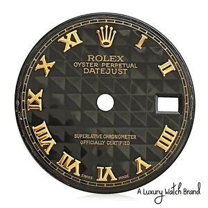 Rolex-Original-Black-Pyramid-Roman-Numeral-Dial-for-Datejust-26mm-Watch