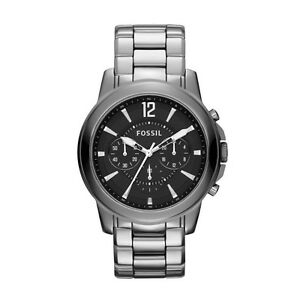 52a707556 Image is loading Fossil-Men-039-s-Black-Stainless-Watch-Chronograph-