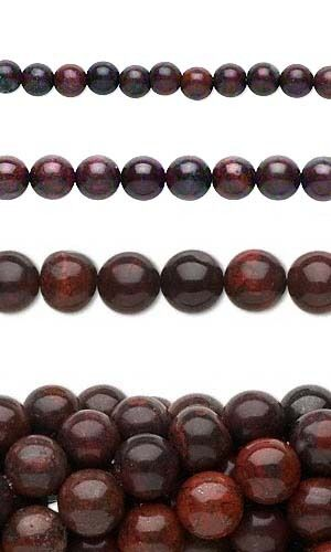 Lot of 10, 16 inch Strands Round Red Brecciated Jasper Natural Gemstone Beads