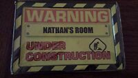 Warning Under Construction Kids' Room Tin Name Plate Sign 5x7 - Assorted Names