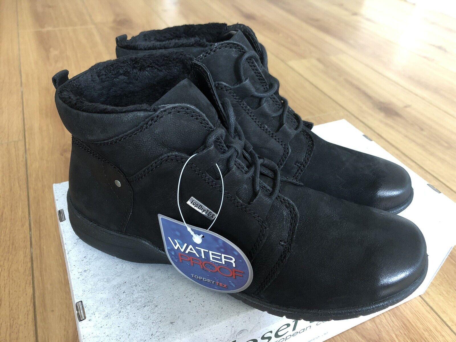 BRAND NEW JOSEF SEIBEL FABIENNE 51 ladies WATERPROOF lace Stiefel in schwarz UK 4 37