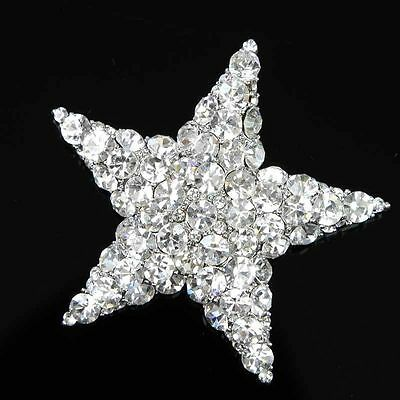 Gorgeous Stunning Star Brooch Pin Pendant Clear Glass Rhinestone for Bridal Hot
