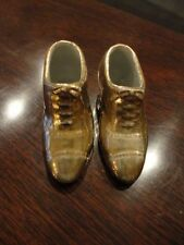 Japan GOLD Tone Porcelain Shoes Pair unattached Slippers Niagara Falls Vintage