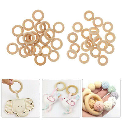 50pcs Natural Wooden Teether Teething Ring 30mm Round Circle Connector Beads