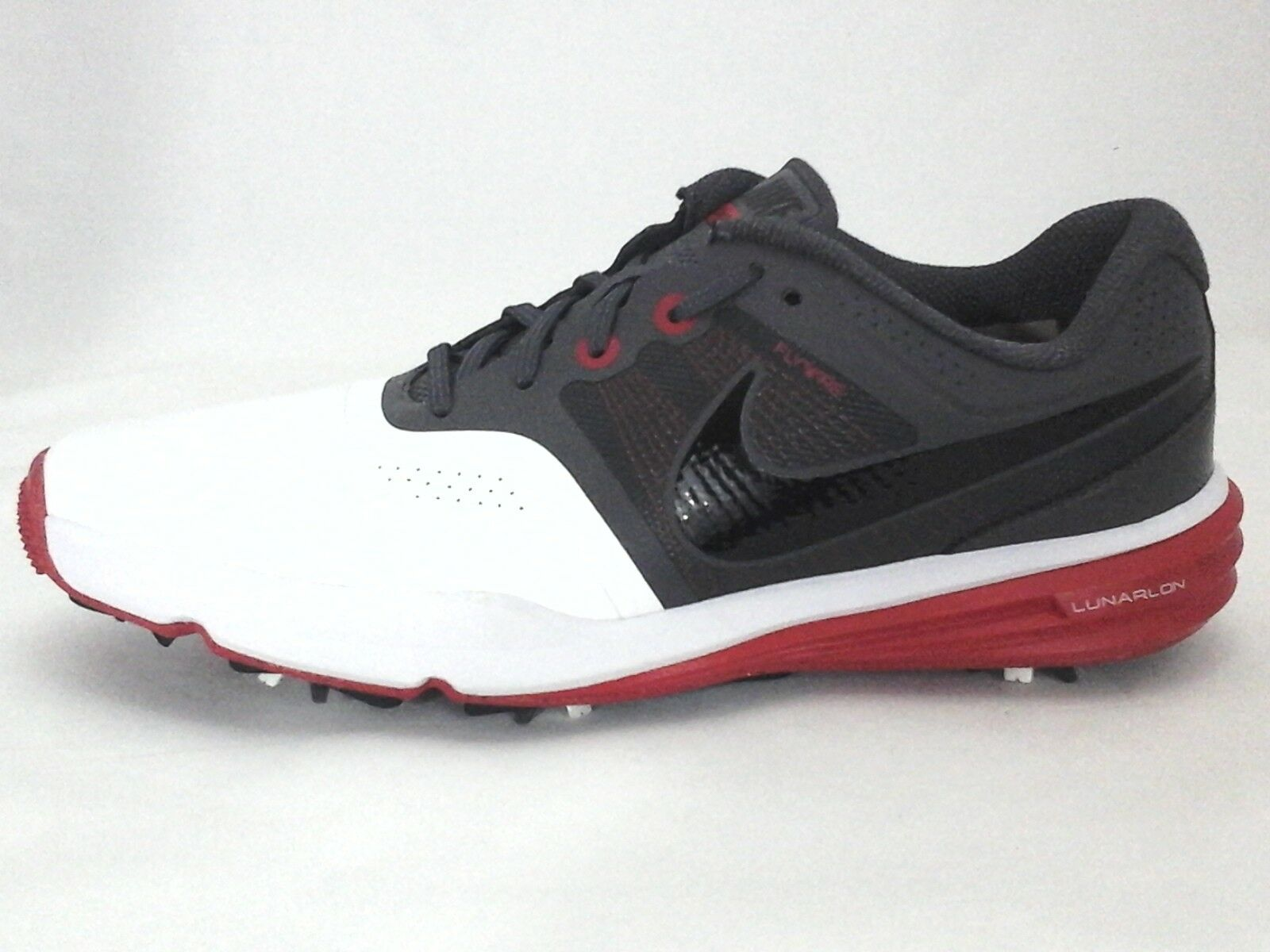 NIKE Golf Shoes Lunarlon Flywire Command White/Gray/Red Active Mens US 7