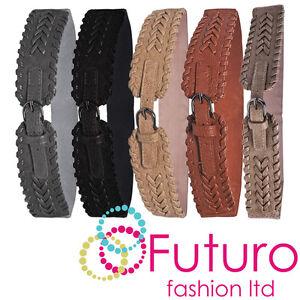 Elástico Trenzado Cinturón Piel Sintética Hebilla de Plata Mujer Cinturilla