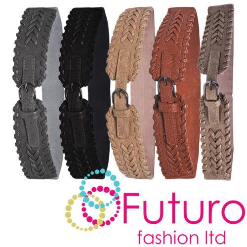 Elastic Plaited Belt Faux Leather Silver Buckle Ladies Waistband Sizes 8-16 SB1