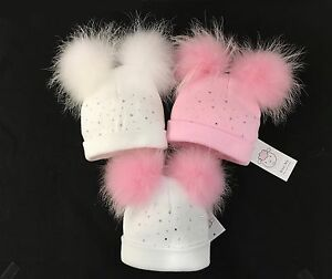 Stunning Baby Double Fur Pompom Hat with rhinestones Real Fur Pom 1 ... bb7fa651845