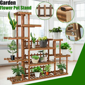4-Tiers-Flower-Rack-Stand-Shelf-Plant-Pot-Wooden-Bamboo-Garden-Indoor-Outdoor