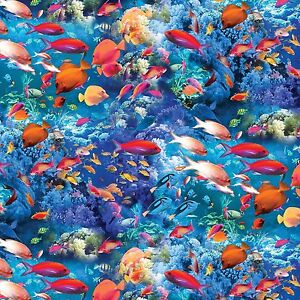 Nautical life 39 s a beach fish coral reef benartex cotton for Fish fabric by the yard