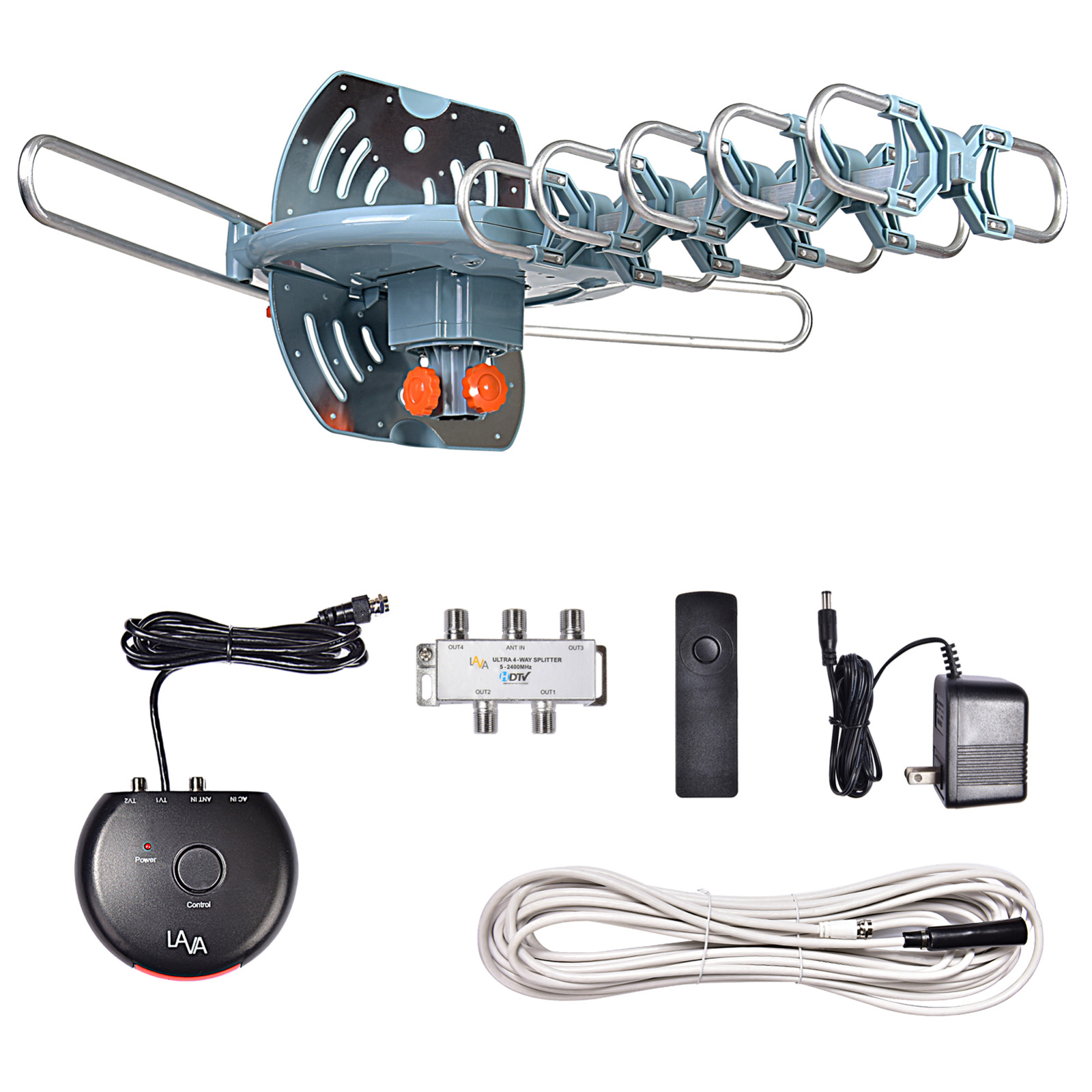 yyelectronicincyy LAVA HD-2605 Elite, Outdoor TV Antenna, Remote Control, 360 Degree Rotation