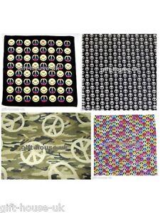 Peace-Smiley-Bandanna-Headwear-Hairband-Band-Scarf-Neck-Wrist-Wrap-HeadtieB3