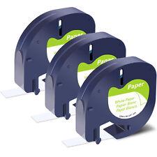 3pk For Dymo Letratag Plus Lt 100t Tape Refills 91330 Label White Paper 12mm