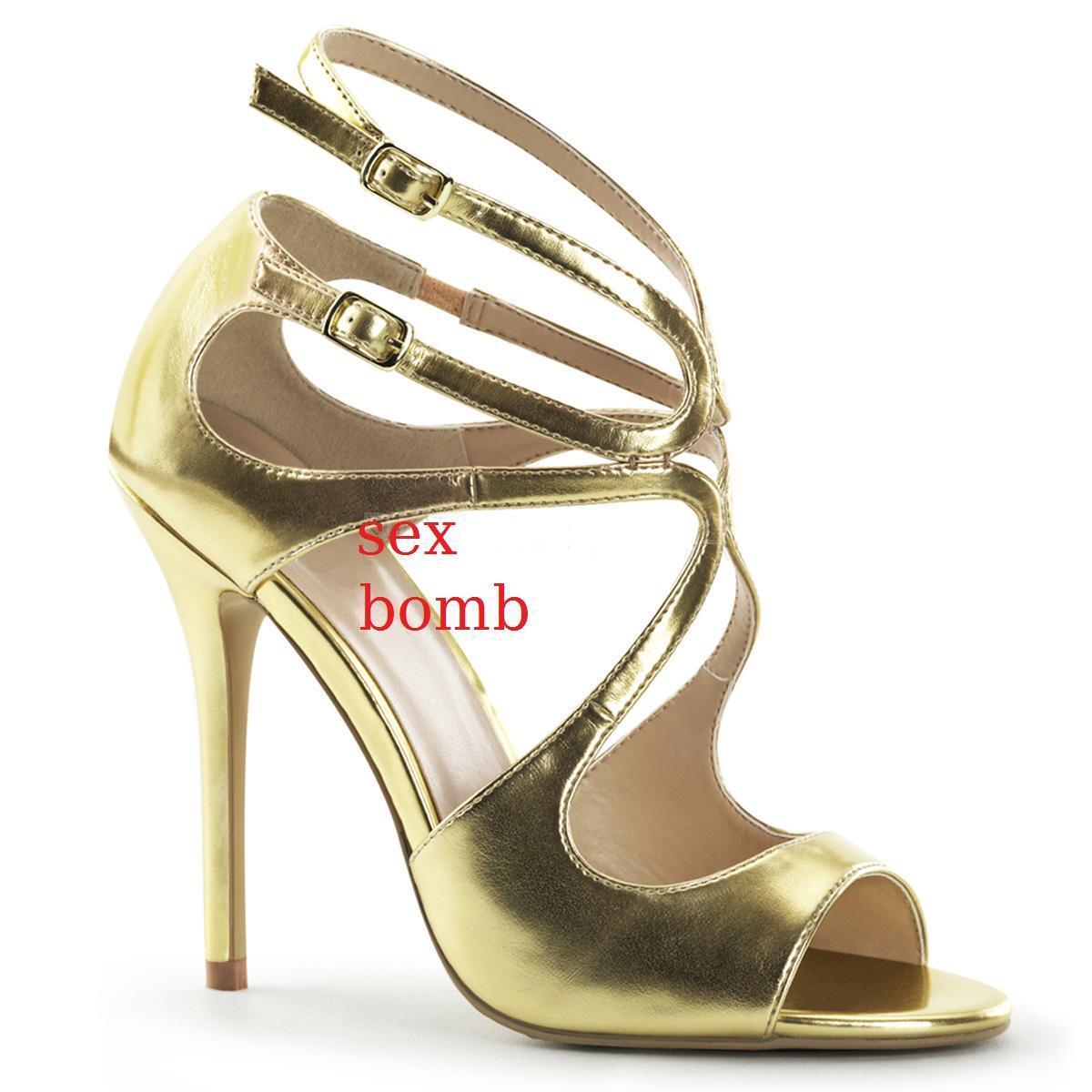 Sexy SANDALI ORO al tacco 13 dal 35 al ORO 44 doppio cinturino scarpe GLAMOUR fashion c09dc3