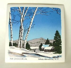 Vintage-SCREENCRAFT-MT-CHOCORUA-White-Mountains-NH-Tile-Art-Trivet-Hotplate