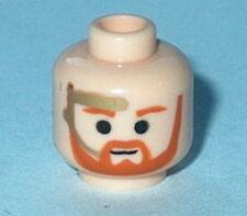 HEAD MF008 Lego Male Brown Trim Beard, Gold Headset NEW Genuine  Obi Wan Flesh