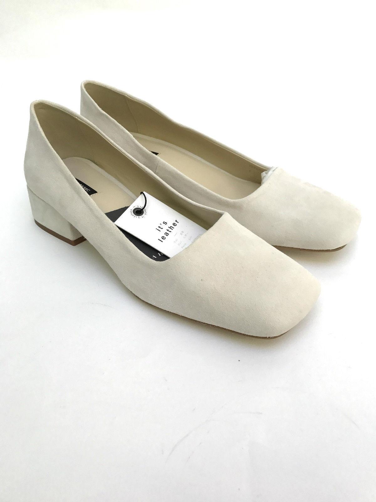 ZARA ECRU BLOCK HEEL LEATHER Schuhe SIZE UK 5 7 REF 2228 201