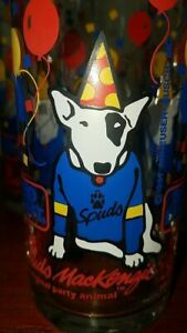 RARE-1987-Spuds-Mackenzie-Bud-Light-Set-of-4-Glasses-Vintage-Collectible