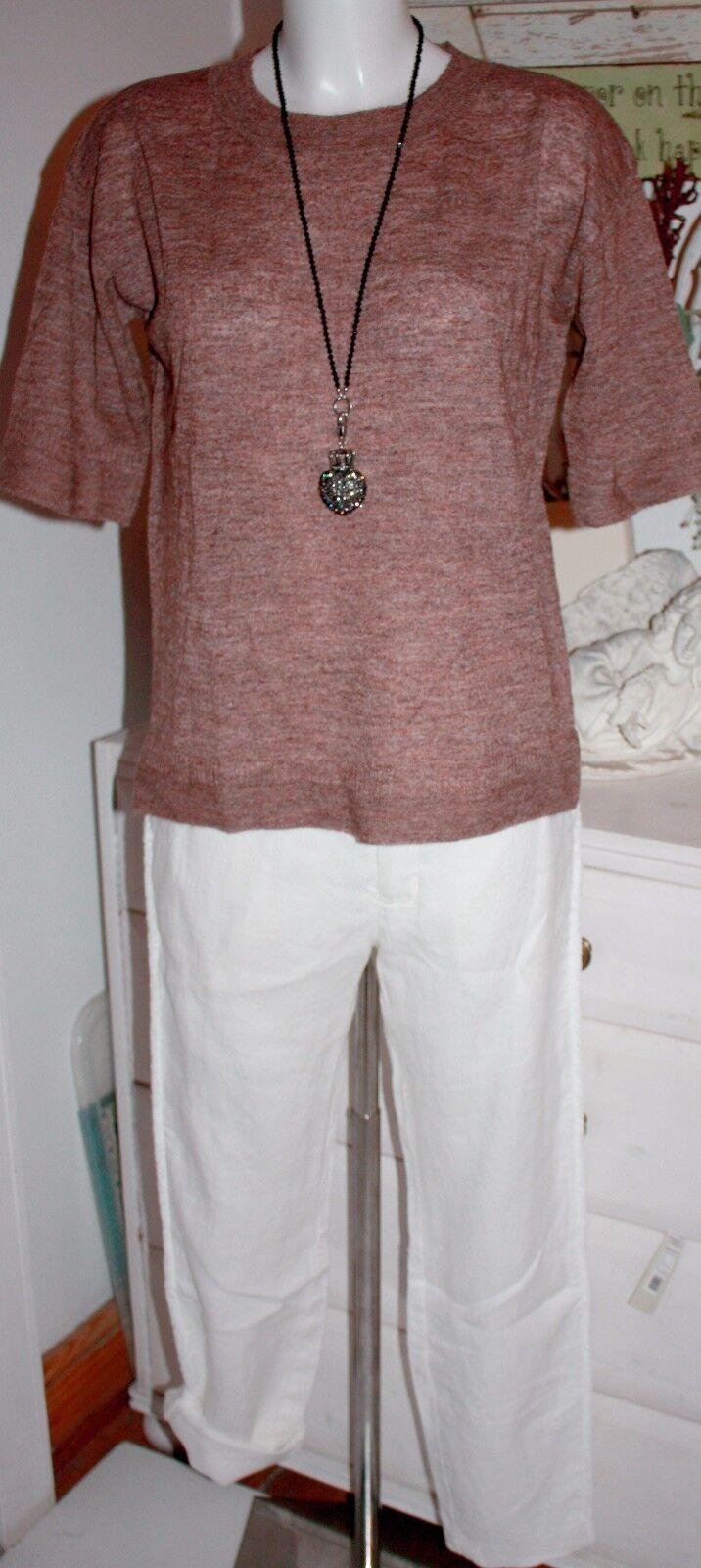 Noa Noa Hose Pants Linen Leinen Structure Weiss White size  34 Neu