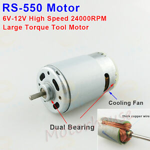 Dc 6v 12v 24000rpm high speed power large torque rs 550 dc for Large dc electric motor
