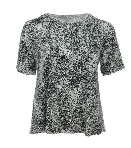 Womens New Plain Black White Sparkly Silver Polka Short Sleeve Tops Bnwt *LICK