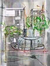 Tableau, peinture, contemporain, moderne, architecture, ville, decoration