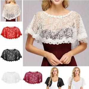 Womens-Lace-See-Through-Bolero-Cardigan-Cropped-Shrug-Top-Shawls-Bridal-Cape