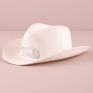179e03642ee Image is loading White-Bride-Cowboy-Hat-Bridal-Accessory-Western-Wedding-