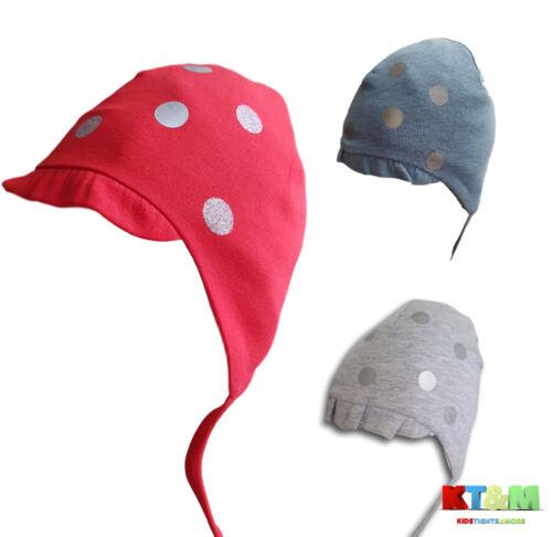 New baby girl belle printemps//automne coton chapeau bonnet avec cordes pois 4-6 mois