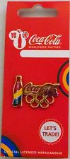 LONDON 2012 OLYMPICS COCA COLA OLYMPIC RINGS & COKE BOTTLE LOGO PIN RIO 2016