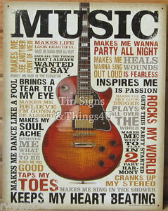 Image Is Loading Music Inspires Me TIN SIGN Metal Poster Vtg