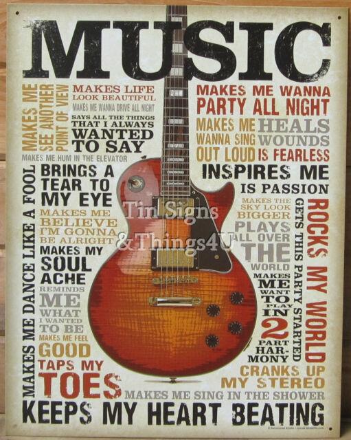 Music Inspires Me Tin Sign Metal Poster Vtg Guitar Wall Art Home Bar ...