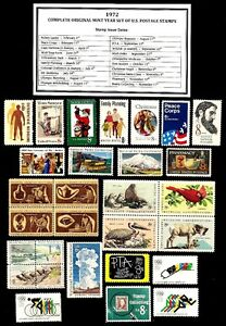 1972-COMPLETE-YEAR-SET-OF-MINT-NH-MNH-VINTAGE-U-S-POSTAGE-STAMPS