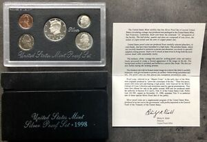 USA-1998-SILVER-Proof-Set-San-Francisco-Original-Box-PP-polierte-Platte-1c-50c