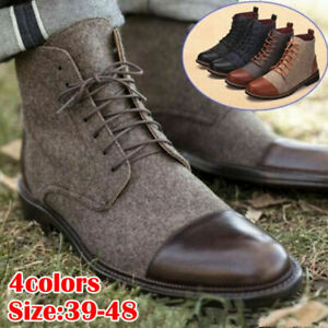Fashion Men/'s Ankle Dress Boots Slip On Leather Lace Up Boot High Top Shoes Work