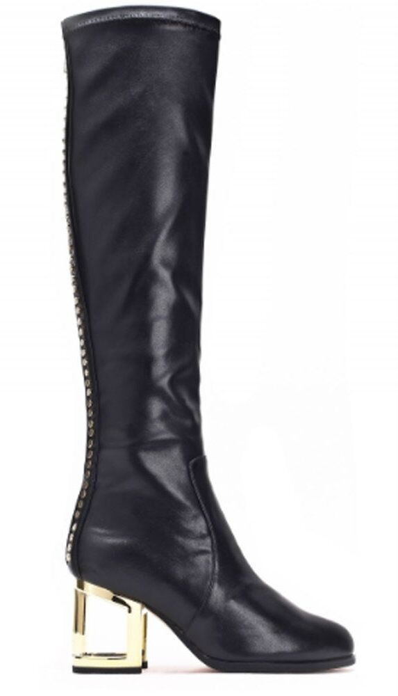 Jeffrey Campbell- Marq Mhh- Women's Studded Knee High Boot- Black gold- Size 6