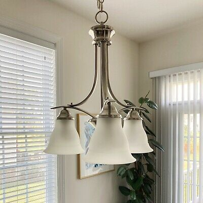Progress Lighting Trinity 3 Light Chandelier Brushed Nickel With Etched Glass 785247136490 Ebay